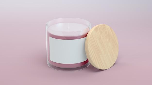 Étiquette de bougie rose en rendu 3d