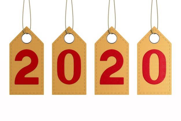 Étiquette en cuir 2020 sur espace blanc. illustration 3d isolée