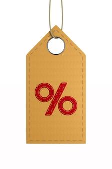 Étiquette en cuir rouge avec pour cent sur blanc