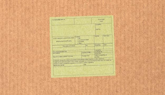 Etiquette de déclaration en douane vierge