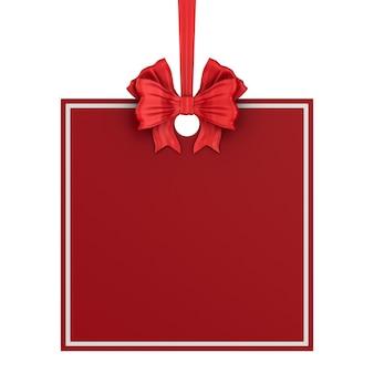 Étiquette de noël carrée avec ruban rouge et archet sur fond blanc. illustration 3d isolée