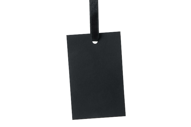 Étiquette noire vierge isolée sur blanc