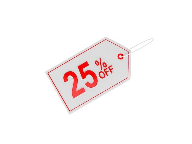 Étiquette de prix avec signe de réduction de 25%