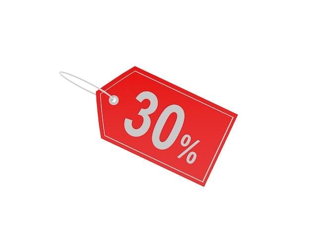 Étiquette avec signe de réduction de 30 pour cent