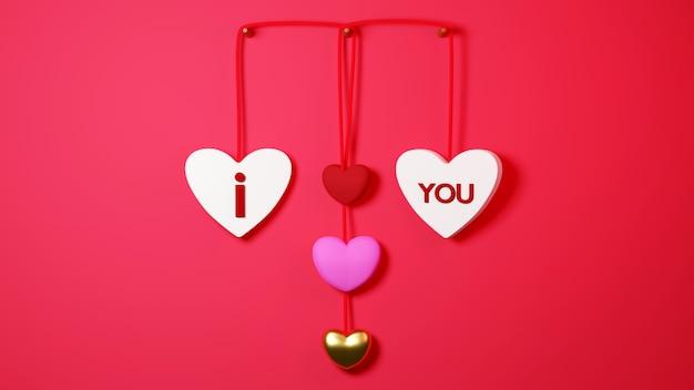 Étiquette suspendue en forme de coeur sur le concept de célébration de fond rouge pour les femmes heureuses, papa maman, coeur doux,