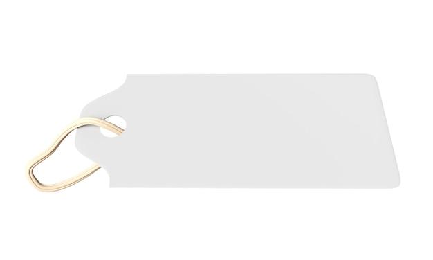 Étiquette vierge liée étiquette de prix étiquette cadeau étiquette de vente étiquette d'adresse isolé sur fond blanc rendu 3d