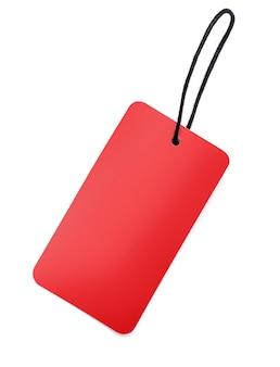 Étiquette vierge rouge isolé sur blanc