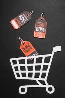 Étiquettes colorées avec des réductions et panier d'achat