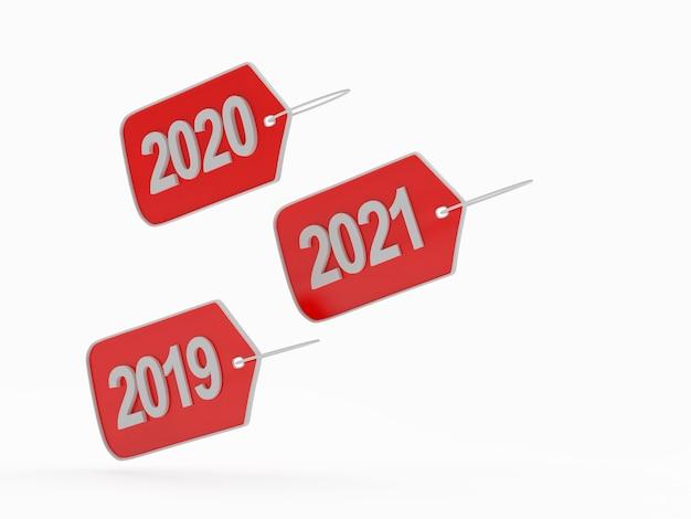 Étiquettes rouges avec numéros de nouvel an isolés
