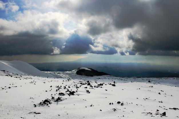 Etna, volcan de sicile recouvert de neige
