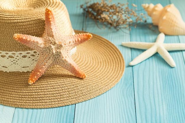Étoile de mer sur un chapeau sur un fond bleu.