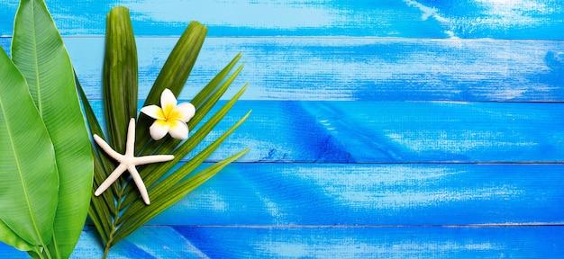 Étoile de mer avec plumeria ou fleur de frangipanier sur les feuilles de palmier tropical sur la surface de texture en bois bleu et blanc