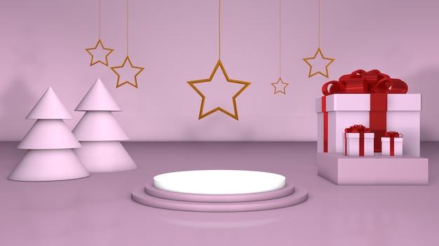 Étoile d'or de podium rose de noël 3d