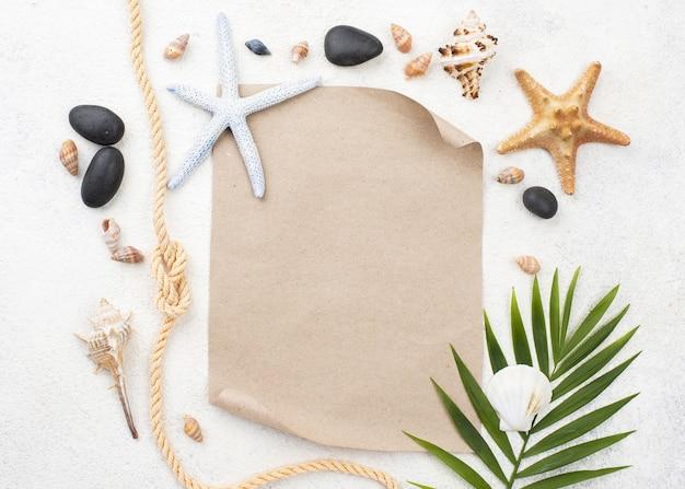 Étoiles de mer sur une feuille de papier vierge
