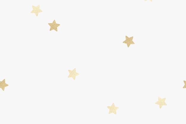Étoiles d'or chatoyantes sur fond blanc
