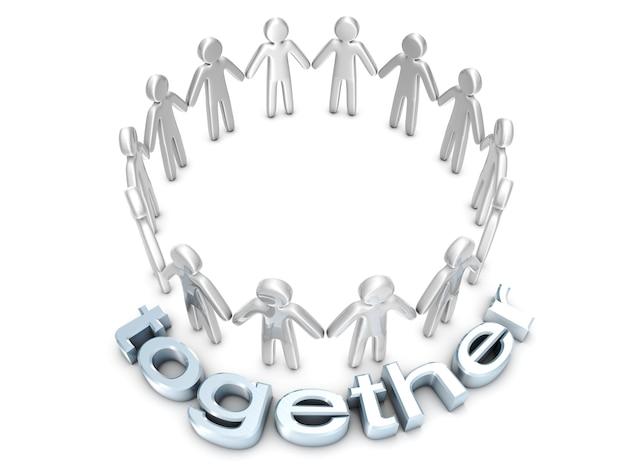 Être ensemble. un groupe de personnes icône debout dans un cercle
