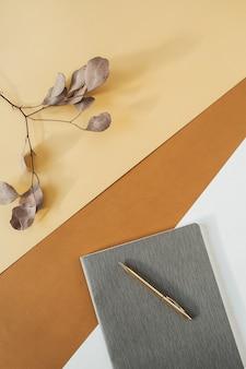 Étude, éducation, concept de travail. livre et branche d'eucalyptus sur beige neutre