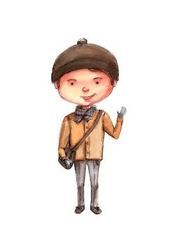 Étudiant garçon dans un manteau avec un sac de broun, aquarelle