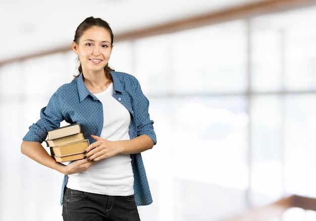 Étudiant, livres, mains