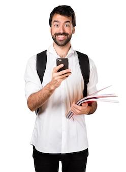 Étudiant avec mobile