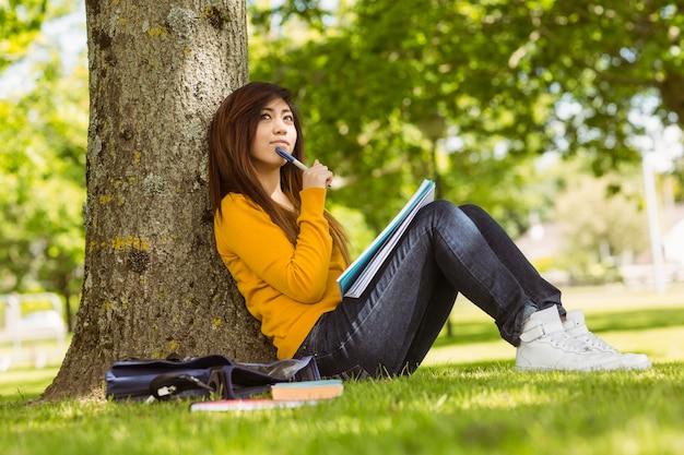 Étudiante détendue avec des livres assis contre l'arbre dans le parc