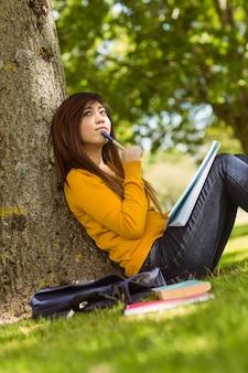 Étudiante avec des livres assis contre l'arbre dans le parc