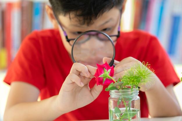 Étudiants de l'asie à la science de la flore