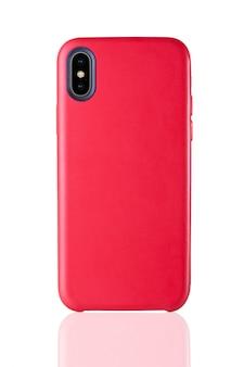 Etui cuir pour téléphone rouge sur blanc