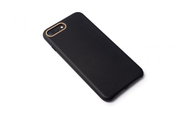Étui pour smartphone en cuir blanc noir isolé sur fond blanc avec un tracé de détourage pour votre conception.