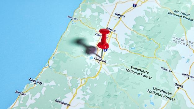 Eugene, or, usa sur une carte montrant une épingle de couleur