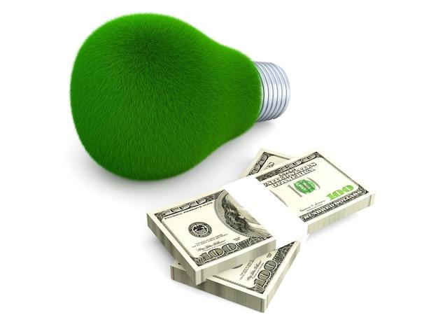 Euros et herbe poussant sur une ampoule.