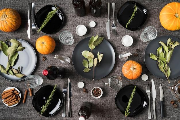 Événement de thanksgiving avec ingrédients du repas