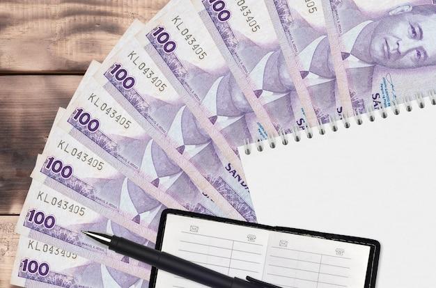 Éventail de 100 billets de piso philippins et bloc-notes avec carnet de contacts et stylo noir. concept de planification financière et stratégie d'entreprise. comptabilité et investissement
