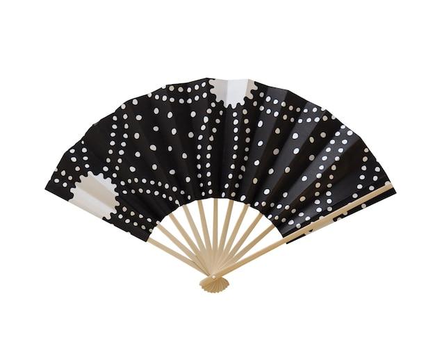 Eventail en papier japonais et couleur noire et en papier