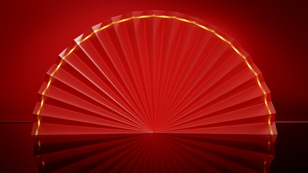 Éventail pliant chinois ouvert rouge sur fond brillant rouge. fond de festival joyeux nouvel an chinois. rendu 3d