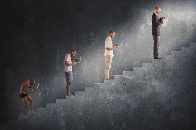 Évolution de carrière d'homme réussi