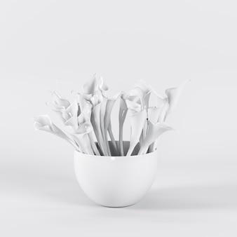 Exceptionnelles tulipes blanches dans un vase blanc o