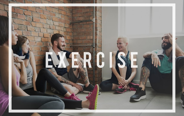 Exercice actif fort bien-être santé mot