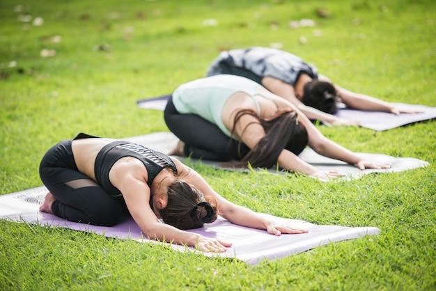 Exercices de yoga en bonne santé dans le parc