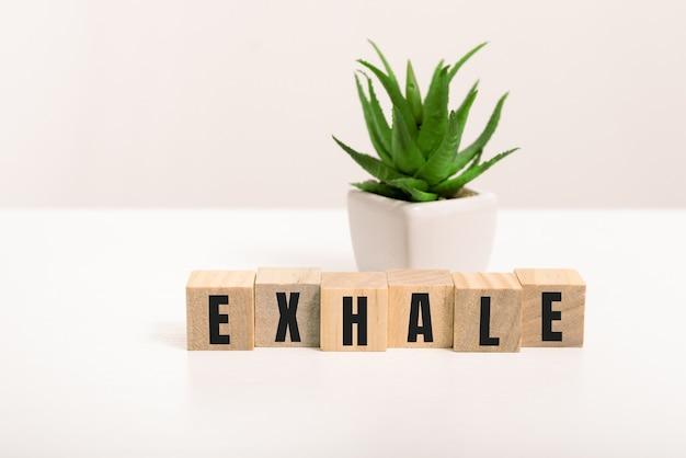 Exhale mot fait avec des blocs de construction