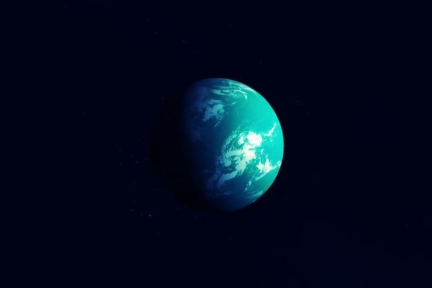 Exoplanète lointaine sur fond noir. les éléments de cette image ont été fournis par la nasa. photo de haute qualité