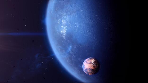 Exoplanète de pierre bleue avec lune