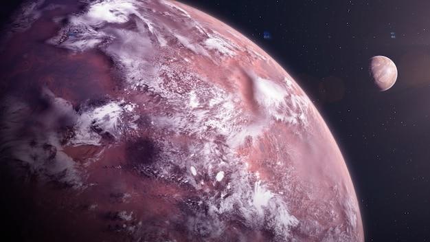 Exoplanète de type désert avec exomoon