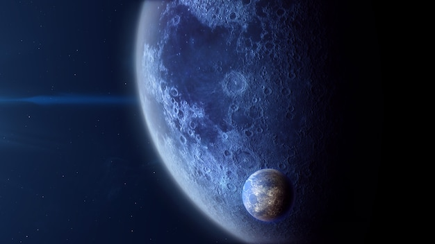 Exoplanète de type glace avec lune