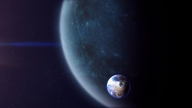 Exoplanète de type pierre sombre avec exomoon