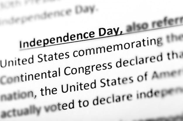 Explication ou description du jour de l'indépendance des états-unis dans un dictionnaire ou un article