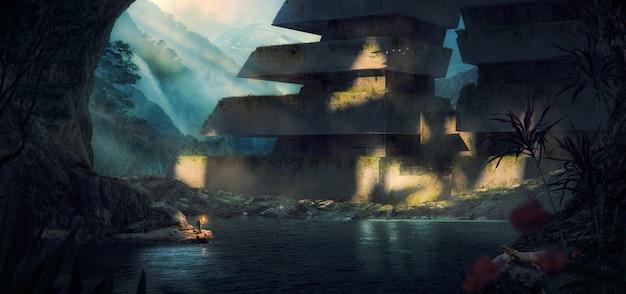 Un explorateur tenant une torche et en arrière-plan une image épique d'une tour religieuse futuriste