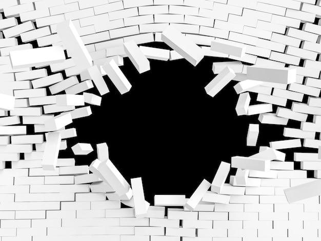 Explosion de briques blanches