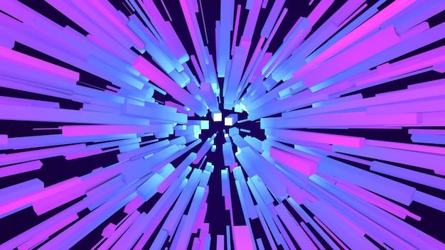 Explosion d'étoile de cube géométrique coloré 3d, faisceau de rayons de ligne abstraite lueur carrée starburst, forme de géométrie chaotique créative, fond bleu et violet numérique