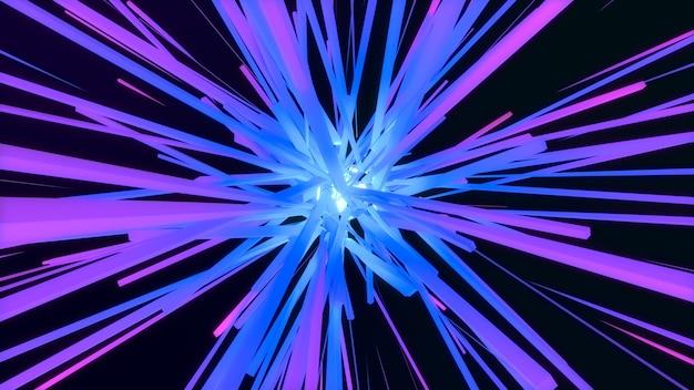 Explosion d'étoile de cube géométrique coloré 3d, faisceau de rayons de ligne étoile abstraite lueur carrée, fond numérique de géométrie créative